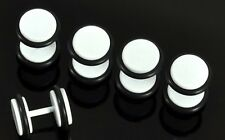 WHITE STAINLESS STEEL FAKE CHEATER PLUGS WITH O RINGS 8mm 1 X PAIR