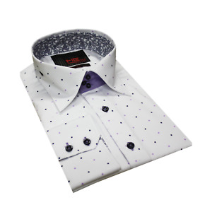 Multi Coloured Polka Dots Long Sleeve Slim Fit Cotton Shirt Size S&3XL