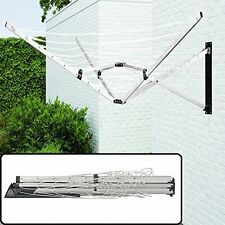 Deluxe 26M 5-Arms Aluminium Wall Mounted Folding Rotary Airer Clothes Dryer Line