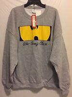 Men's Wu-Tang Clan Crewneck Sweater Gray Hip Hop RZA Method Man Ghostface Sz:2XL