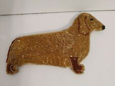 "VINTAGE DACHSHUND BEADED ZIPPERED LINED COIN PURSE 7"" 1980'S"
