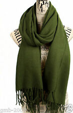 Women's Winter Olive Green 100% Cashmere Pashmina Solid Tassel Shawl Wrap Scarf