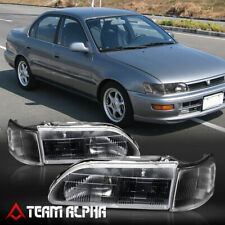 Fits 1993-1997 Toyota Corolla[Black/Clear]Crystal Corner Headlight Headlamp Lamp