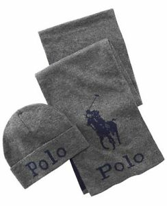 Polo Ralph Lauren Men's Jacquard Hat & Scarf Set NWT