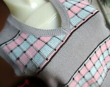 Medium True Vtg 70s WOMENS PINK/BLUE PLAID DISCO VEST KNIT SWEATER Top Shirt