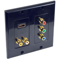 Pyle Home PHDBM6 Wall Plate for HDMI+2 RCA+3 RCA (Black)