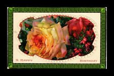 DR JIM STAMPS US HAPPY BIRTHDAY FLOWERS EMBOSSED TOPICAL GREETINGS POSTCARD