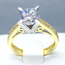 """STUNNING 9CT YELLOW GOLD CUBIC ZIRCON *SOLITAIRE* ENGAGEMENT RING SIZE """"O"""" 1825"""