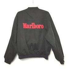 Marlboro Mens Medium Black/Red Reversible Embroidered Bomber Jacket
