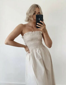 H&M NEW WOMAN Smocked Bodice Midi Dress Beige Size Large