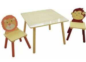 Toddler Wooden Jungle Animals Table and Chairs Set Kids Child Furniture Play