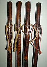 WOODEN WALKING STICK /CANE UNUSUAL FLAMED CARVED CHESTNUT WOOD WALKING STICKS