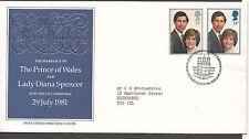 GB 1981 FDC Royal Wedding Carnarvon postmark stamps