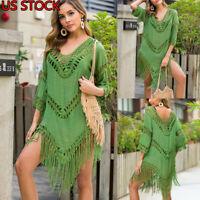 US Women Tassel Crochet Bikini Cover Up Swimwear Summer Bathing Suit Dress Beach