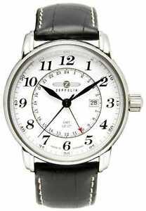 Zeppelin LZ 127 Transatlantic GMT   Black Leather 7642-1 Watch