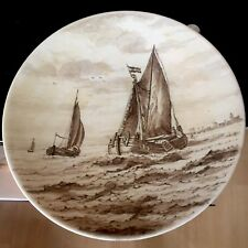 Rare Vintage Delfts Wall Plate Plaque with Galleon Ships off Holland Dutch Coast