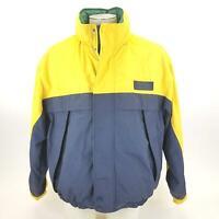 Eddie Bauer Zip Up Rain Jacket Mens Coat Large Yellow Blue Green Vintage Hooded