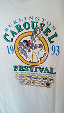 VINTAGE 90'S T SHIRT BURLINGTON NC CAROUSEL FESTIVAL 1993-LARGE-HORSE- WHITE USA