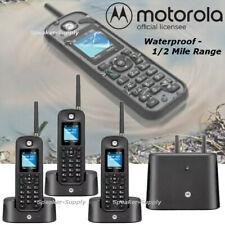 Motorola 0212 Rugged Waterproof 1/2 Mile Long Range 3 Handset Cordless Phone Set