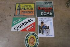 Group of 5 MINT, UNUSED Vintage Luggage Stickers-Italy--GROUP 10