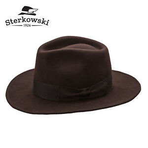 Sterkowski INDIANA Wool Fedora Hat Jones Cowboy Outback Wide Brim Vintage