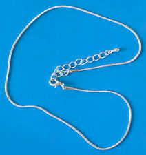 """One x 14"""" SP complete snake necklace/pendant chain/w extender, 1.2mm dia"""