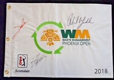 Mickelson Matsuyama & Rahm PGA Signed Autographed Golf Pin Flag BAS Certified