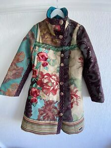 MULTI EMBROIDERED DESIGUAL COAT 44 14/16 GLITTER GLAM SMART HIPPIE WINTER CHIC