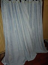 Classic Blue & White Stripe (Pair) Tab Top Window Panels Curtains 70 X 74 Boys