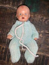 Original Schildkröt Babypuppe 16cm StrickOverall Top Zustand Alte Puppe Sammler