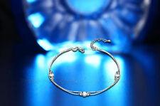 Uk Love Heart Bead Silver Plate Ankle Bracelet Women Anklet Foot Jewelry