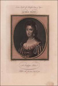 QUEEN MARY of England & Ireland, hand colored engraving, original 1785