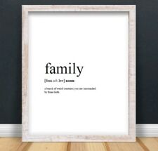 A4 Family Funny Typography Print Art Picture Quote Gift Home Decor UNFRAMED