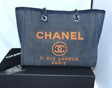 Chanel Deauville Bolso Bandolera Denim Azul Cadena Bolso Nuevo