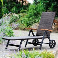 Folding Recliner Adjustable Lounge Chair Wheels Patio Deck Beach Brown Rattan