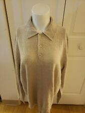 SPRING MERCER Men's 100% Cashmere Tan Long Sleeve Sweater Large