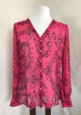 CAbi S Premier Pink Black Baroque Print Sheer Chiffon Blouse Shirt Top 254 EUC