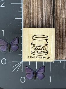 Stampin' Up! Jar Container Polka Dot Label Rubber Stamp 2007 Wood Mount #S35