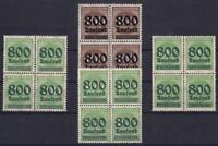 DR Mi Nr. 304, 305, 306, 308 ** 4er Blocks, Ziffer 1923, postfrisch, MNH