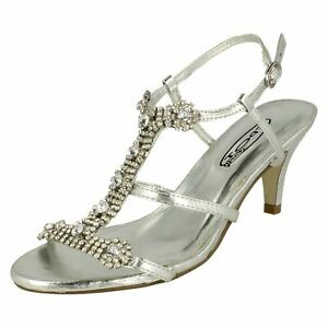 LADIES SILVER DIAMANTE PARTY ANKLE STRAP LOW HEEL SANDALS,UK 3-8 F1925