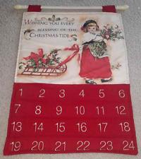 HANGING CHRISTMAS ADVENT CALENDAR Girl Misletoe Berries Holiday Inspirations New