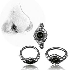 TRIBAL 20G ONYX AND STERLING SILVER NOSE RING 7MM RING NOSE STUD HELIX