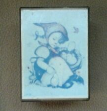 Vtg Wood Music Box – Hummel Picture - Music Love Story - Japan Girl w Baby Chic