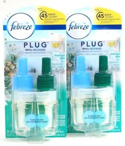 2 Count Febreze Plug 0.87 Oz Fresh Cut Pine Scented Oil Refill With Odor Clear