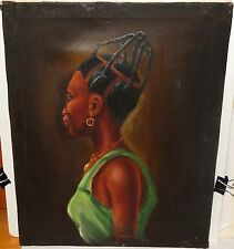 CHRISTO BLACK WOMAN WITH BRAIDS OIL ON CANVAS PAINTING