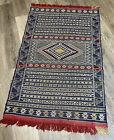 Unique Blue Rug~ Moroccan Berber Kilim~ One of a Kind