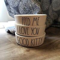 Rae Dunn Magenta Pet Cat Food or Water FEED ME, DEVOUR, SLURP, GOOD KITTY Bowl