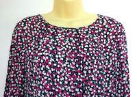 BODEN Tunic Dress Smock UK Size 14R Pink Navy Blue White Spotty 3/4 Sleeve