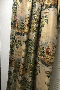"Covington Bosporus1Pc Toile Antique Red Fabric Curtain Panel Pinch Pleat 24x112"""
