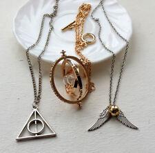 Lote de tres collares Giratiempos snitch y Triángulo Floray saga HARRY POTTER